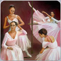 Ballerinas Prepare, oil painting