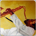 Saxophone Player, oil painting